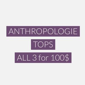 "THREE ANTHROPOLOGIE TOPS WITH ""💜"" IN TITLE"